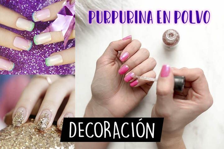purpurina decorativa de uñas