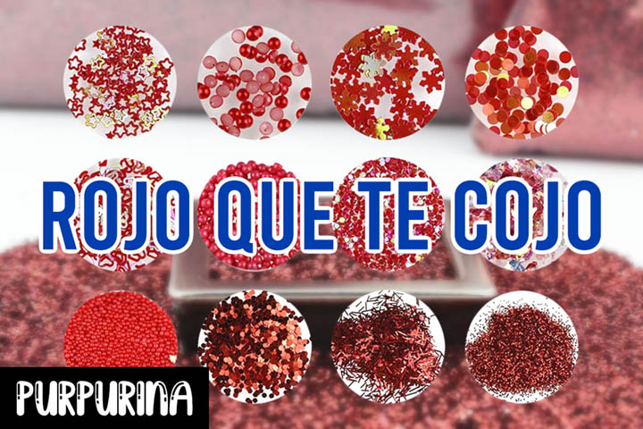 purpurina de color rojo